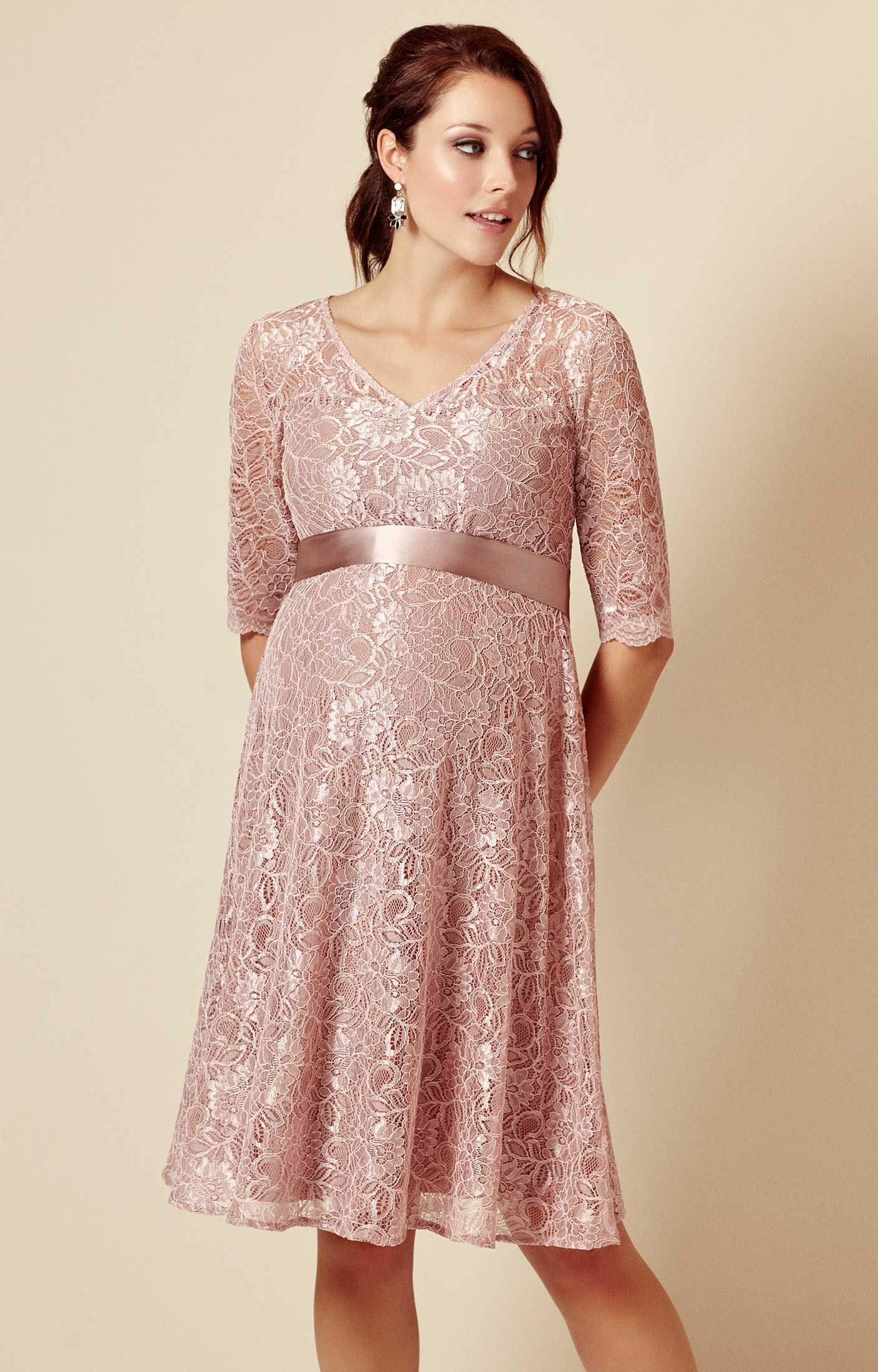 21d66015676b0 From the pretty sweetheart neckline to the beautiful premium corded lace,  our dusky pink maternity dress is a vintage delight, with a full swishy ...