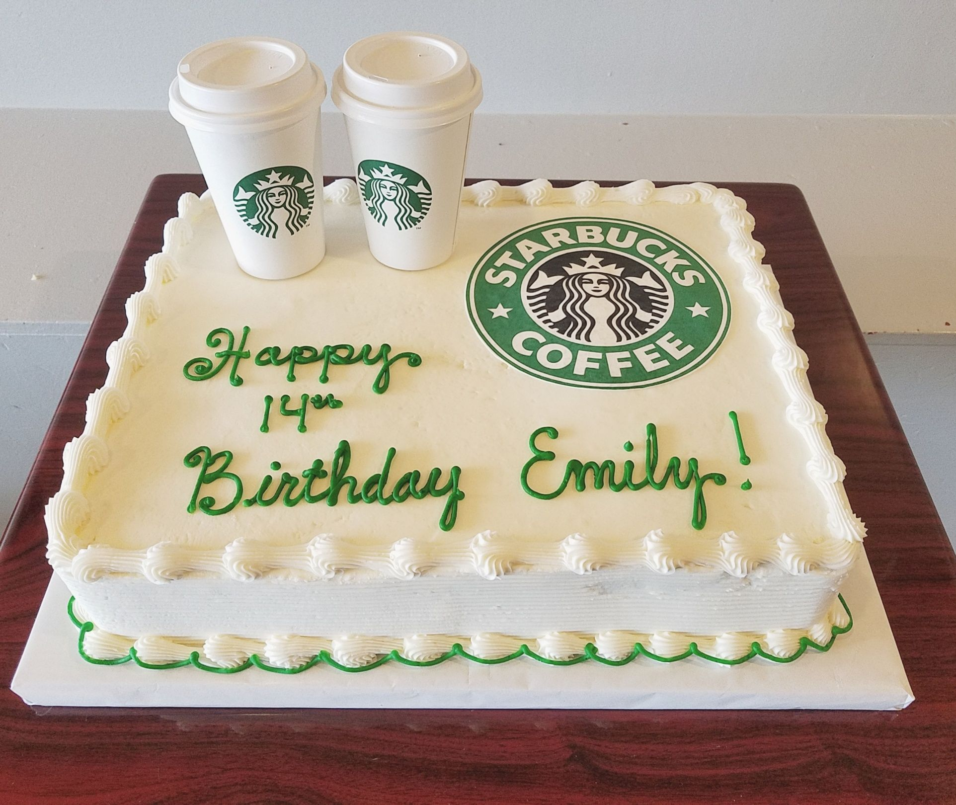 Outstanding Starbucks Birthday Sheet Cake Adrienne Co Bakery With Images Funny Birthday Cards Online Unhofree Goldxyz