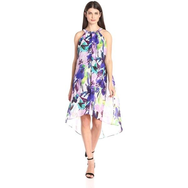 Vince Camuto Women's High/Low Chiffon Dress ($148) ❤ liked on Polyvore featuring dresses, vince camuto dresses and vince camuto