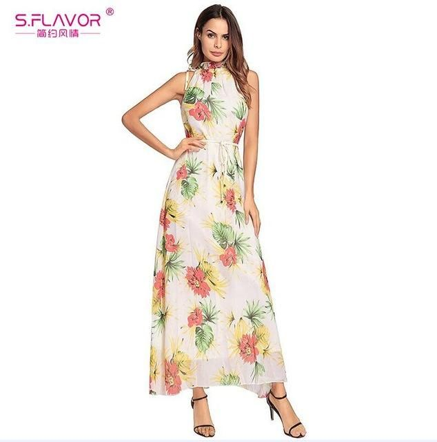 d62c64a239fd S.FLAVOR Fashion Chiffon Summer Dress Women Vintage Bohemian Dress  Sleeveless Floral Print Party Slim Long Dress No Belt