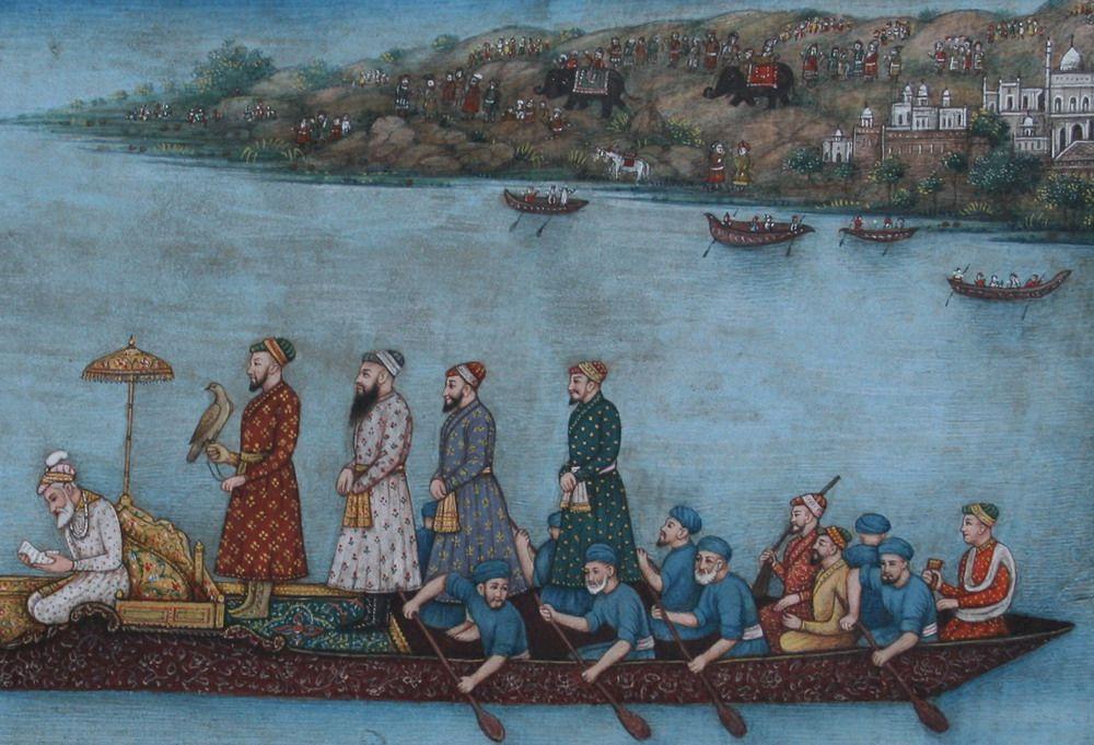 Mughal Emperor Aurangzeb Out Hawking On A Lake Late Mughal At