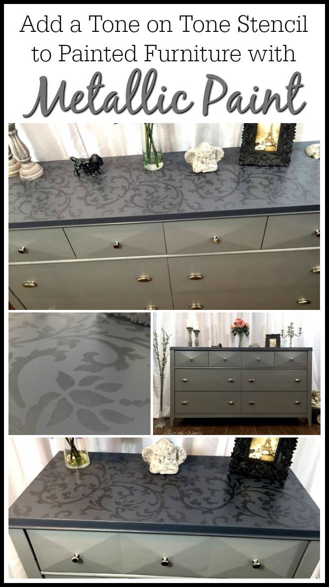Add A Tone On Tone Stencil To Painted Furniture Using Metallic Paint For An  Added Elegance