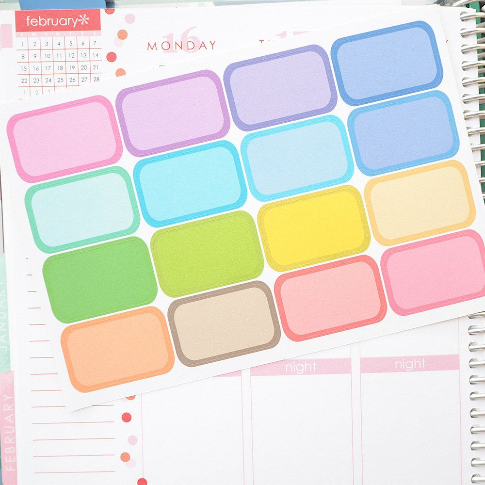 Colorful Half Boxes Sticker Planner // Perfect for Erin Condren Life Planner by FasyShop on Etsy