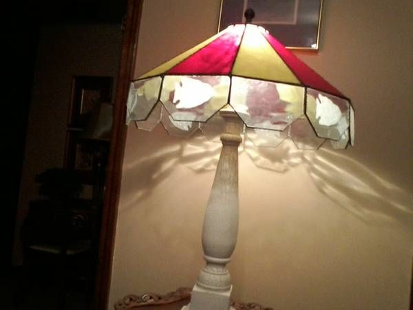 K C Chiefs themed stained glass lamp with shirt in etched arrowheads. Price is $125.00 and showcase 115 at the Brass Armadillo, call 1-816-847-5260. Shipping is available for an additional fee.