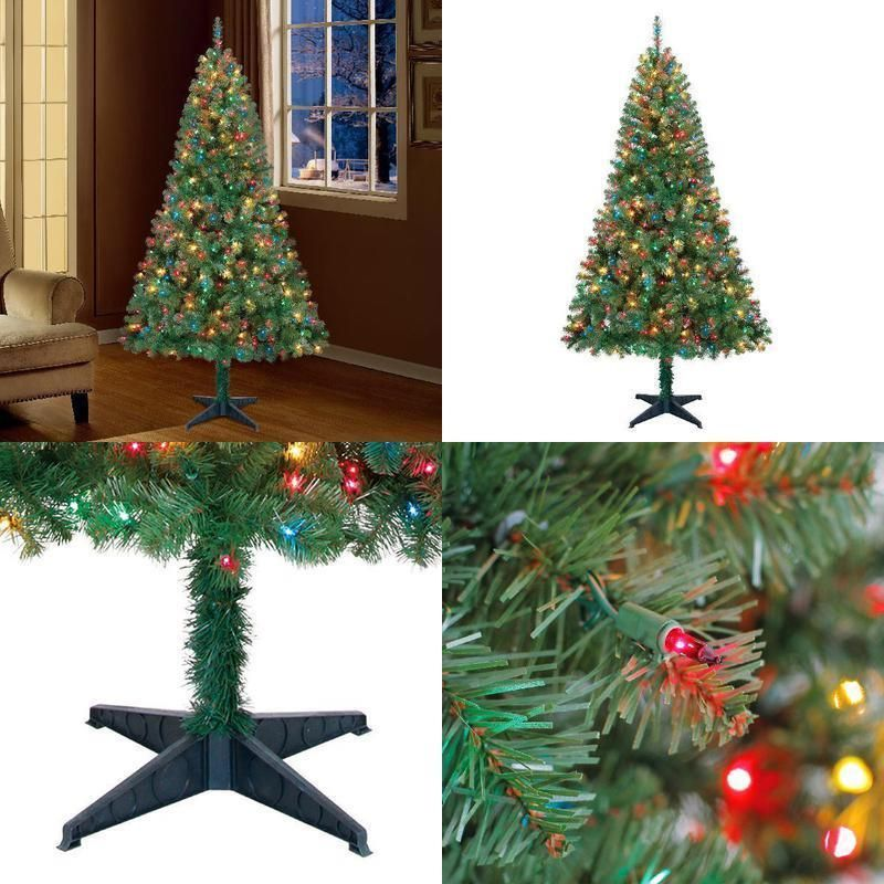 Holiday Time Pre-Lit Christmas Tree 6.5ft 350 Multicolored ...