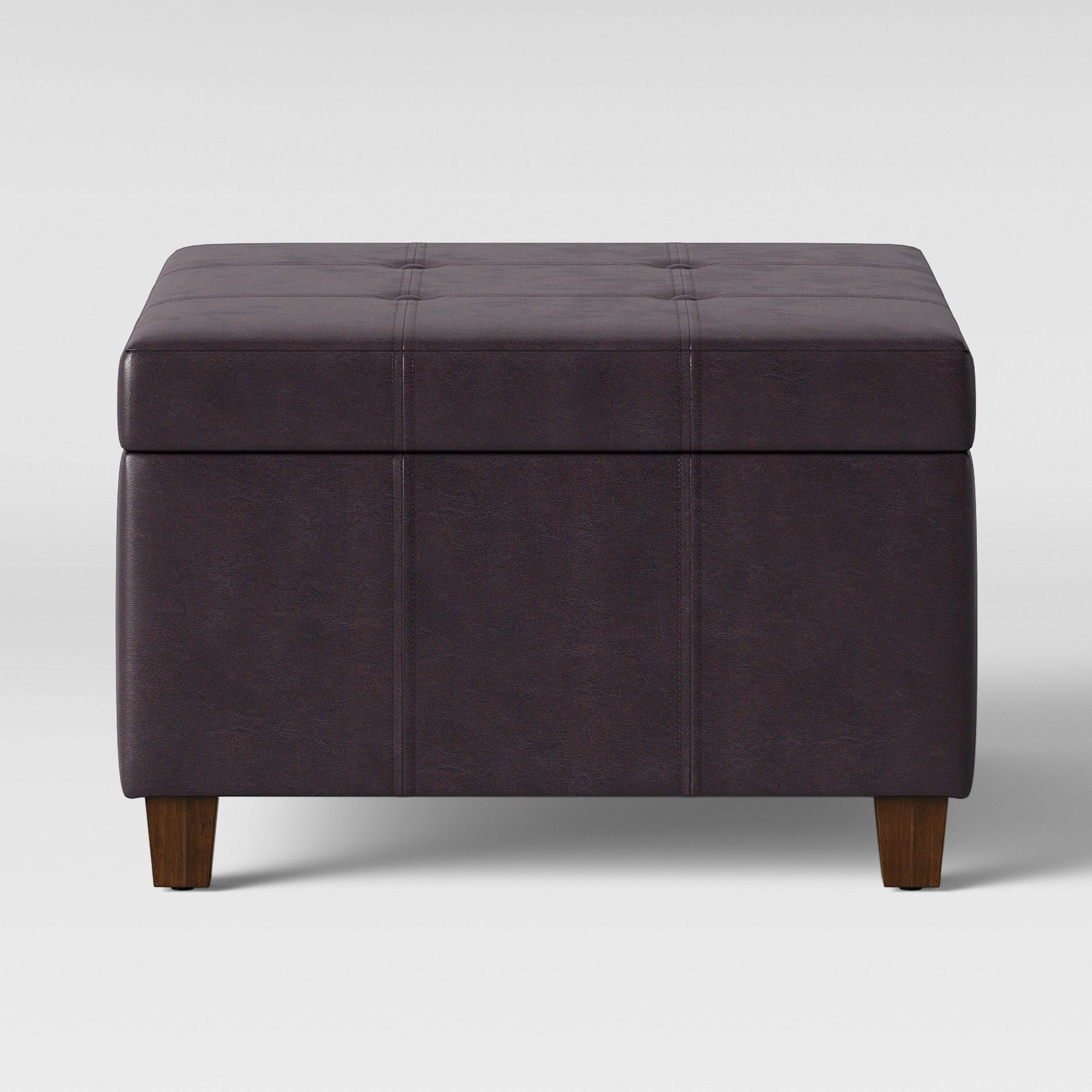 Carver Square Cocktail Ottoman Brown Faux Leather Threshold