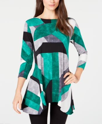 4225ede81e1 Wear to Work womens blouses - Macy's. Alfani Printed High-Low Tunic,  Created for Macy's - Green XXL