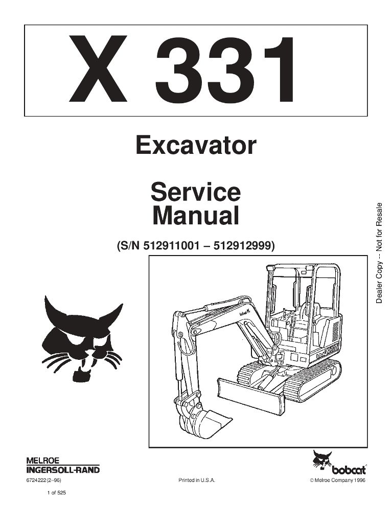 Bobcat X331 Excavator Service Manual Pdf Download Service Manual Repair Manual Pdf Download Repair Manuals Excavator Hydraulic Excavator