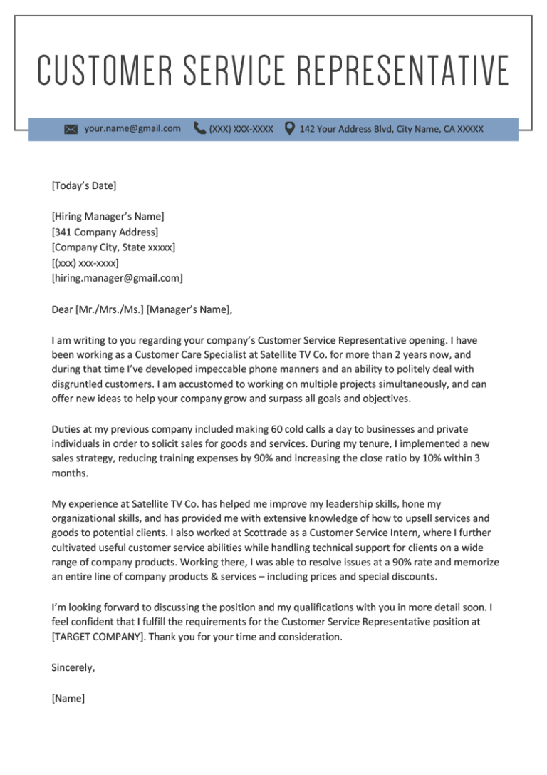 Customer Service Representative Cover Letter Sample in