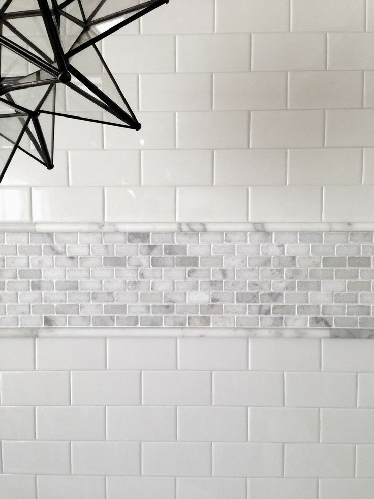 Subway Tile With A Grey Pencil Mosaics To Break Things Up Bath