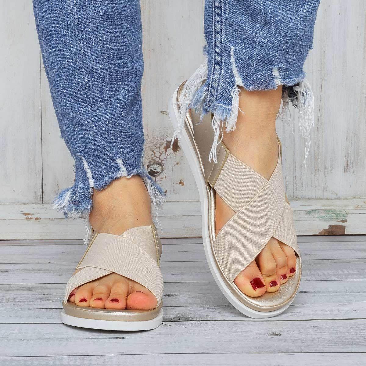 Flat Sandals Women Comfortable Platform Summer Womens Shoes Ladies Summer Sandals,Gray,7