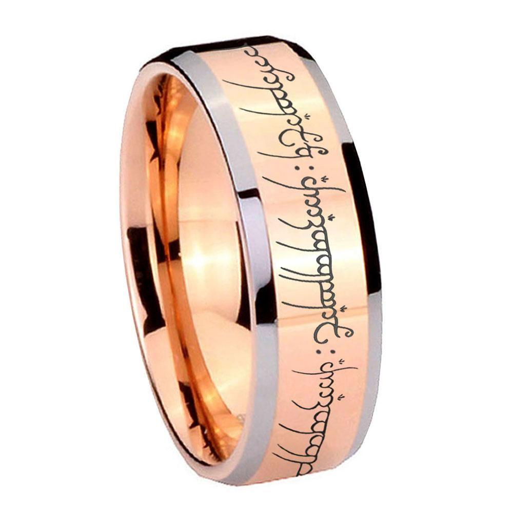 10mm lord of the ring beveled edges rose gold tungsten