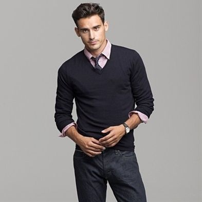 Like The Pairing Of Sweat With Nice Dress Shirt Under The Sweater