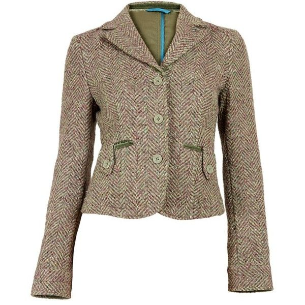 Pistachio and Magenta Tweed Blazer (7 895 UAH) ❤ liked on Polyvore featuring outerwear, jackets, blazers, brown jacket, tweed blazer, brown blazer, tweed jacket and brown tweed blazer