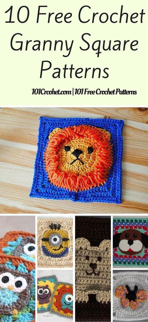 10 Free Crochet Granny Square Patterns   Tejido, Animales y Manta