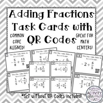 FREE Adding Fractions with Integers Task Cards with or