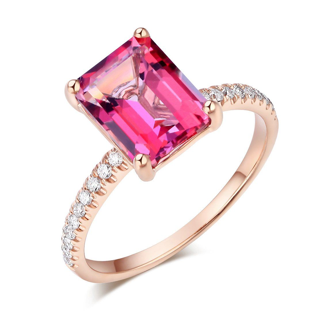 14K Rose Gold Wedding Engagement Ring 2.8 Ct Pink Topaz 0.16 Ct ...