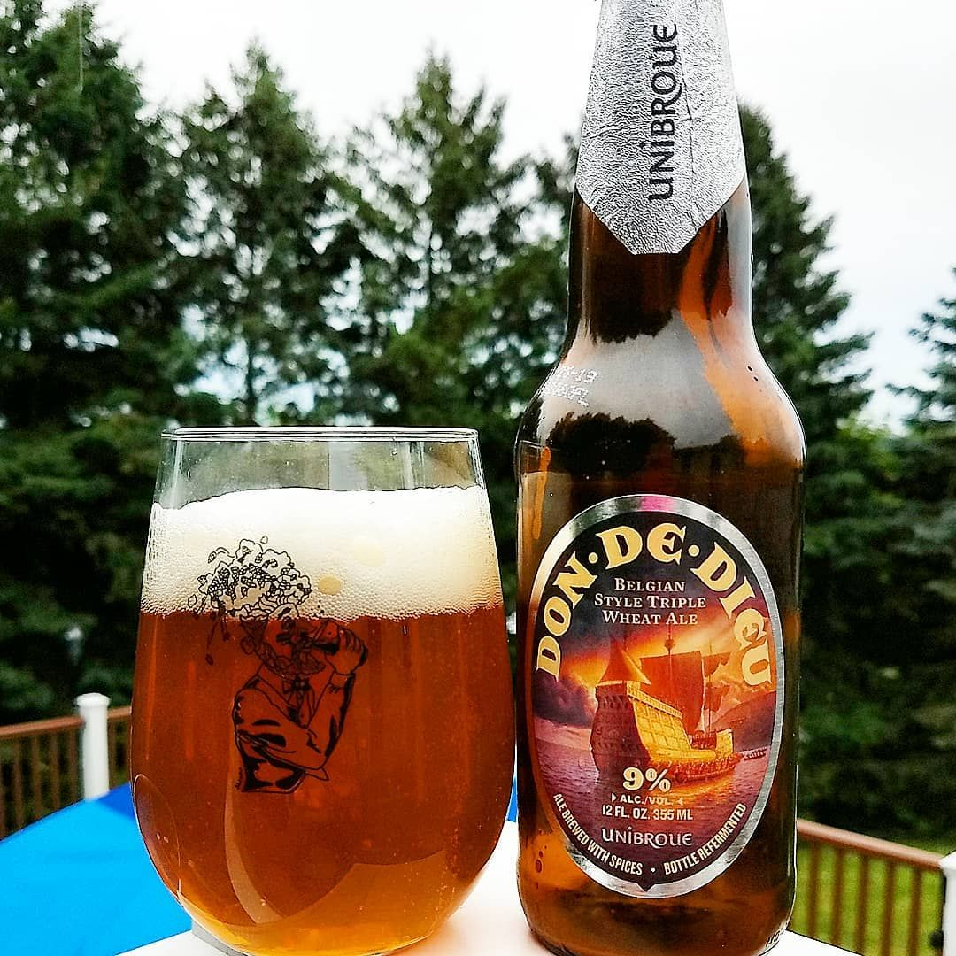 Unibroue Don De Diue Gift Of God 90 ABV This Strong White Beer Is An Abbey Style Triple Wheat Ale Refermented In The Bottle