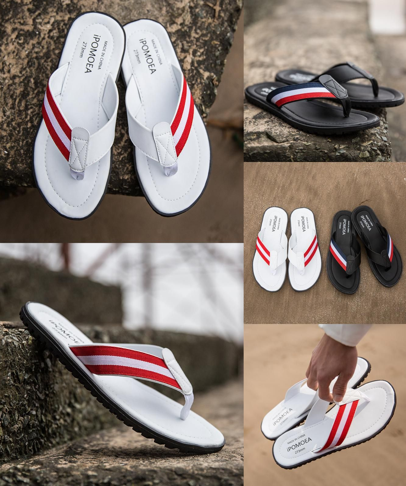 f4e25fbc6  Visit to Buy  flip flops brand leather beach sandals luxury home slippers  2017 Male