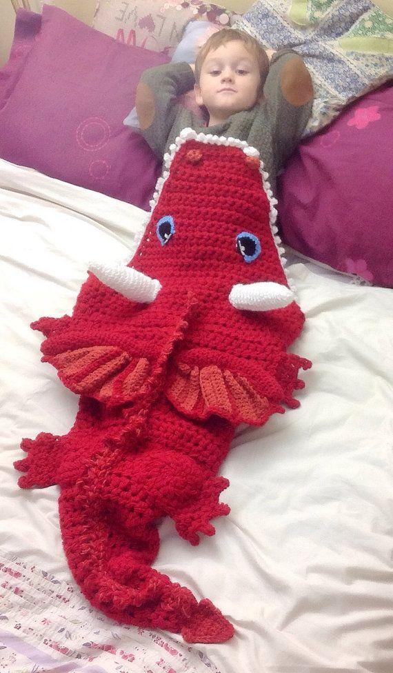 Hand Crochet Dragon Blanket Lapghan Lap Blanket Snuggle