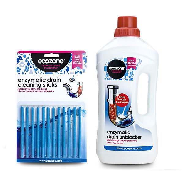 Ecozone Enzymatic Drain Unblockers With Free Drain Sticks Packs Cleaning Drain Stick