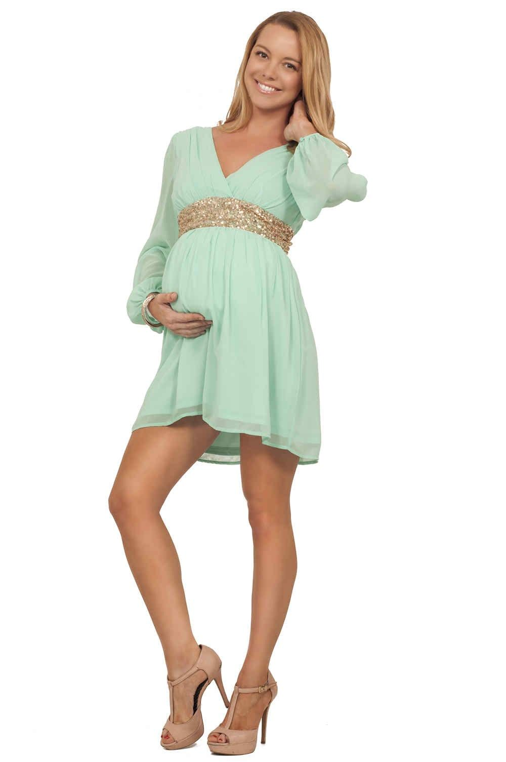 Sweet style petite maternity cloth maternity dresses pinterest hot from hollywood maternity pregnant long sheer sleeve gold sequin empire waist bridesmaid dress ombrellifo Image collections