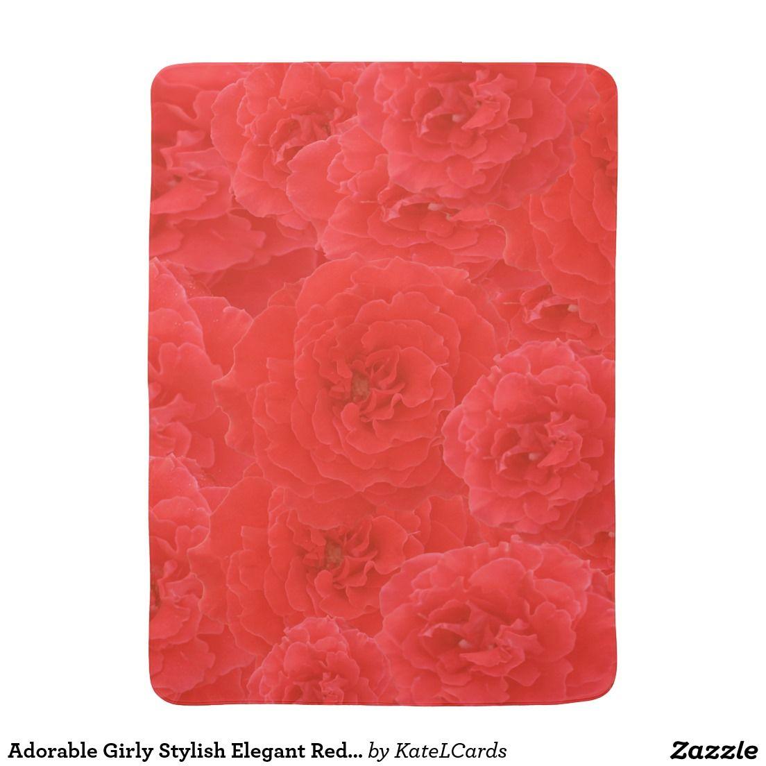 Adorable Girly Stylish Elegant Red Rose Swirl Stroller Blanket