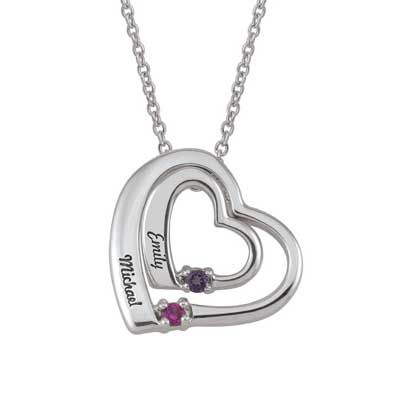Zales Couples Birthstone Bold Heart Pendant (1 Stone and 2 Names) TSqgUSdlni