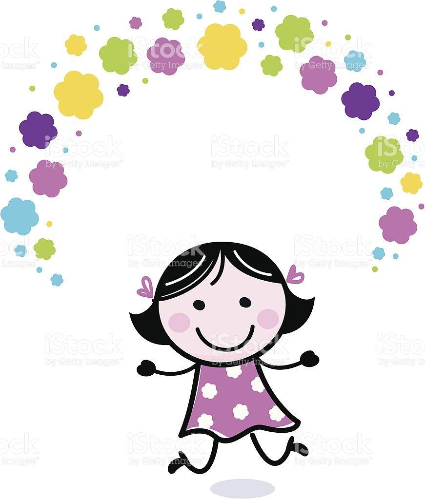 Linda garota malabarismo com flores de doodle vetor e ilustração royalty-free royalty-free