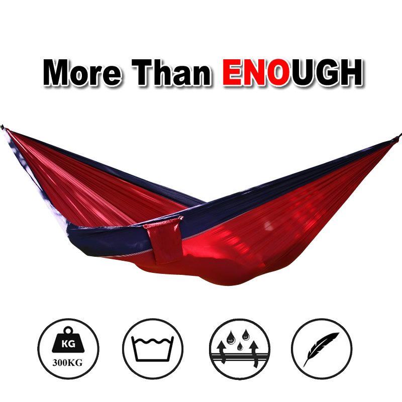 더블 사람 해먹 낙하산 휴대용 야외 캠핑 실내 홈 정원 침낭 해먹 침대 300 키로그램 최대 적재 무료 배송
