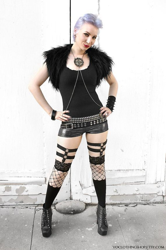 906f46967 SPIKED SOCK GARTERS adjustable knee high   thigh by voclothingshop ...