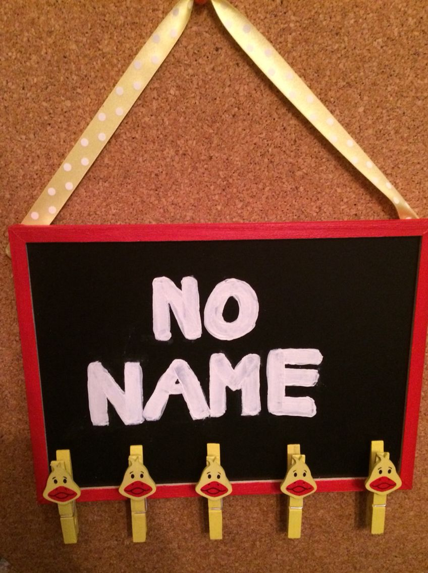 New 'no name' board for pupils who to put their