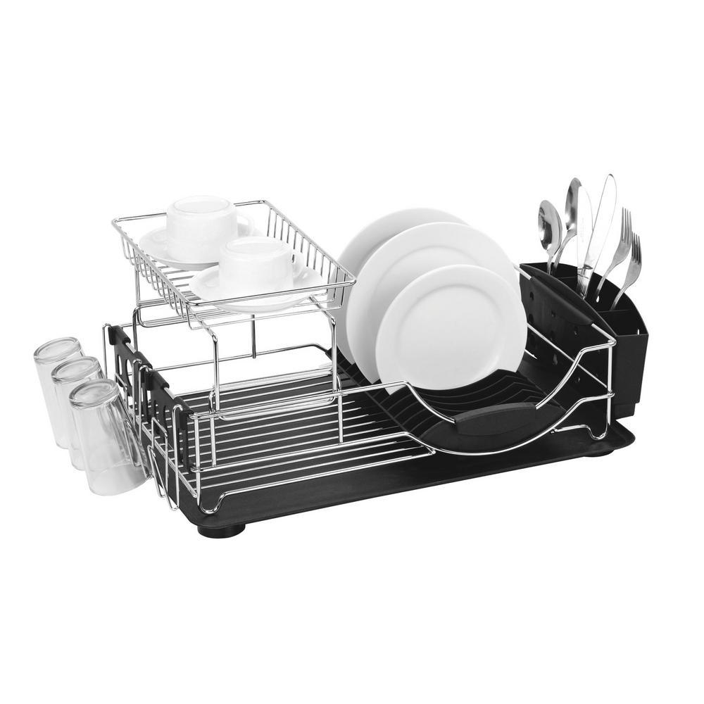 Home Basics 20 In X 13 In X 10 In Deluxe Dish Drainer In Black