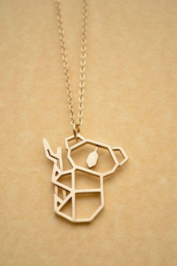 Koala Origami Necklace Geometric Animal Pendant