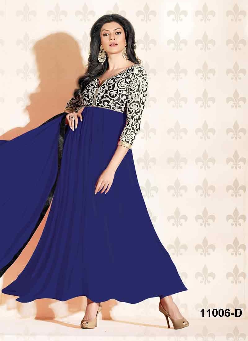 #SushmitaSen Amazing Designer Long Simple Blue #AnarkaliSuit Shop With 48% Discount at #craftshopsindia   #craftshopindia