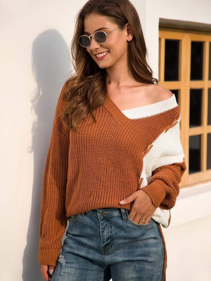 Shein Two Tone Lace Up Detail Chunky Knit Jumper #chunkyknitjumper