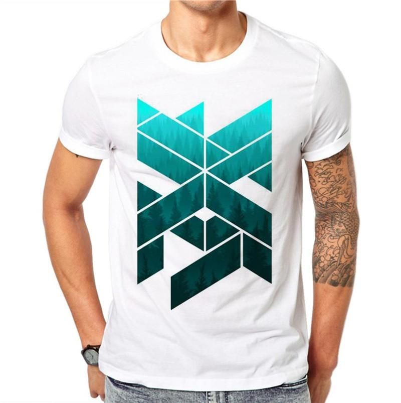 e85afddd35f 100% Cotton Summer Ink Geometric Figure Design Men T Shirts Fashion Simple  Design Man Short Sleeve Tops Tees Clothes XXXXL