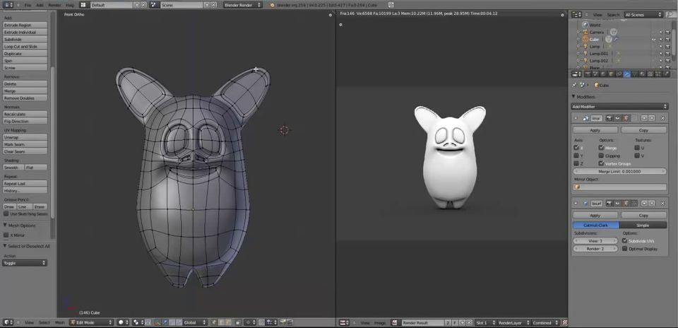 Modeling A Cartoon Character In Blender, Modeling A