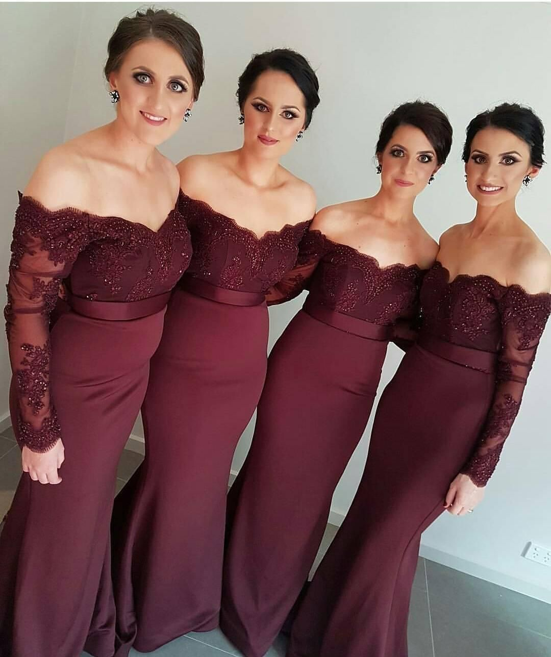0ad9236dc3823 2016 New Cheap Burgundy Mermaid Bridesmaid Dresses Off Shoulder Lace Beaded  Long Sleeves Custom Floor Length For Wedding Maid of Honor Gowns Online  with ...