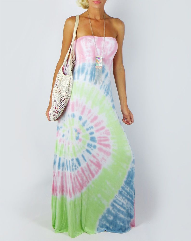 4b0d39bb5d8 PASTEL TIE DYE SOFT KNIT EXTRA LONG MAXI DRESS OR FOLD OVER SKIRT SUN BEACH  L  FashionTwenty  Maxi  Casual