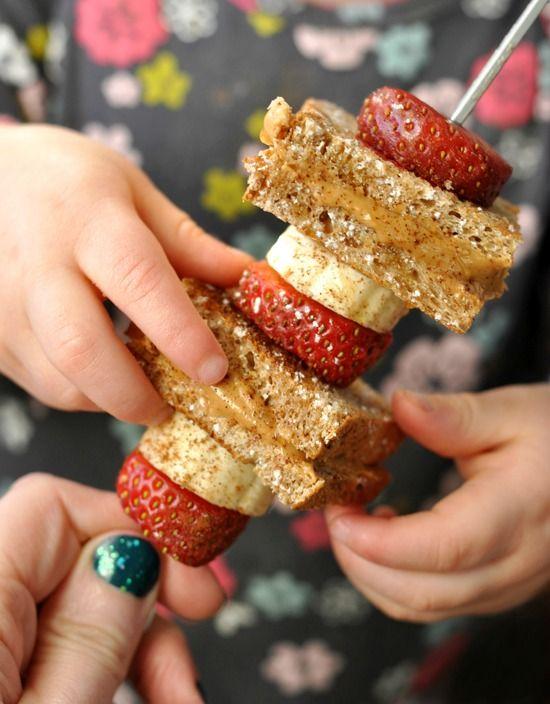 Kid-Friendly Strawberry Banana Peanut Butter Toast on a Stick