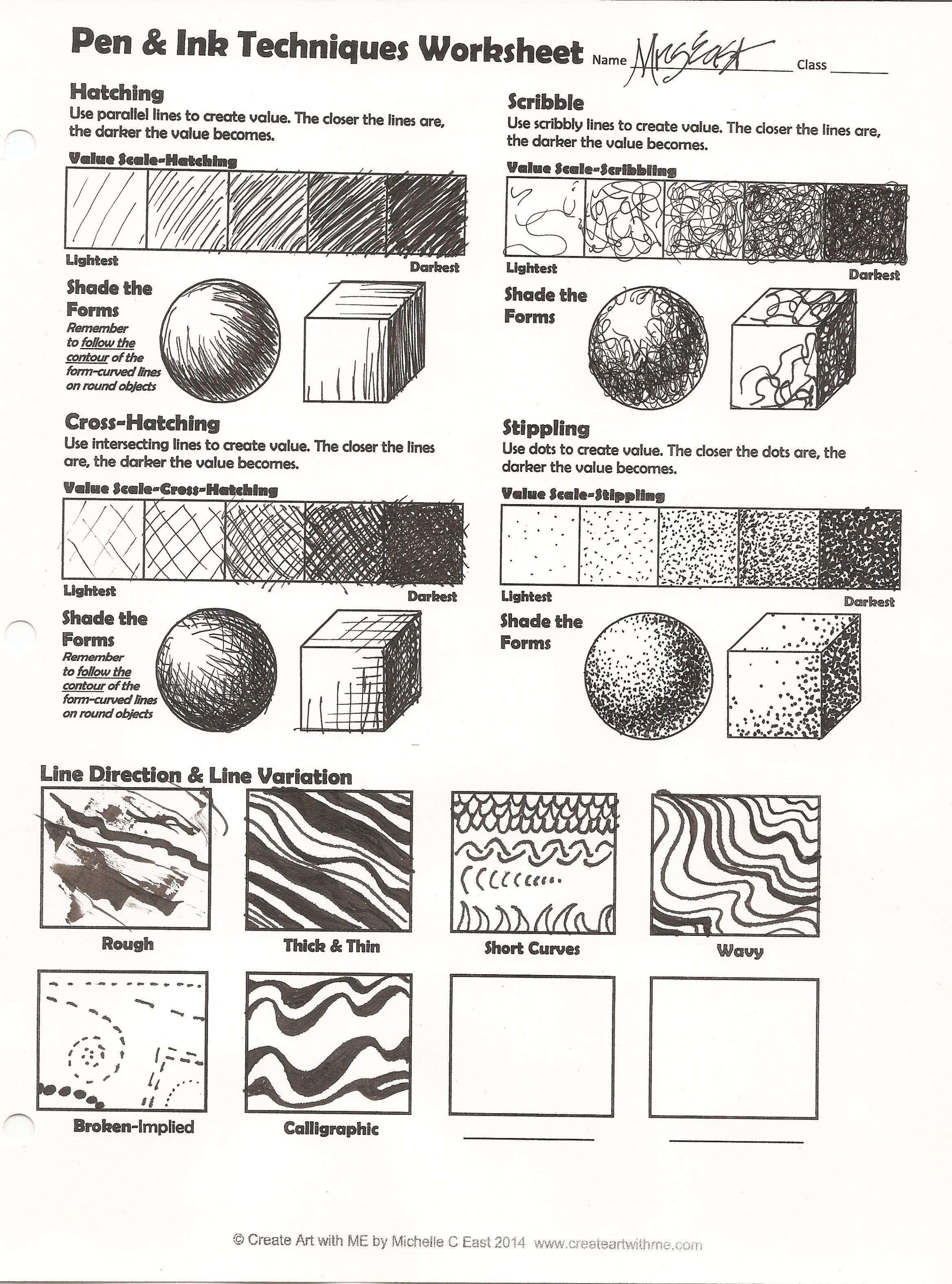 Pen Amp Ink Techniques Lesson Plan Amp Worksheet In