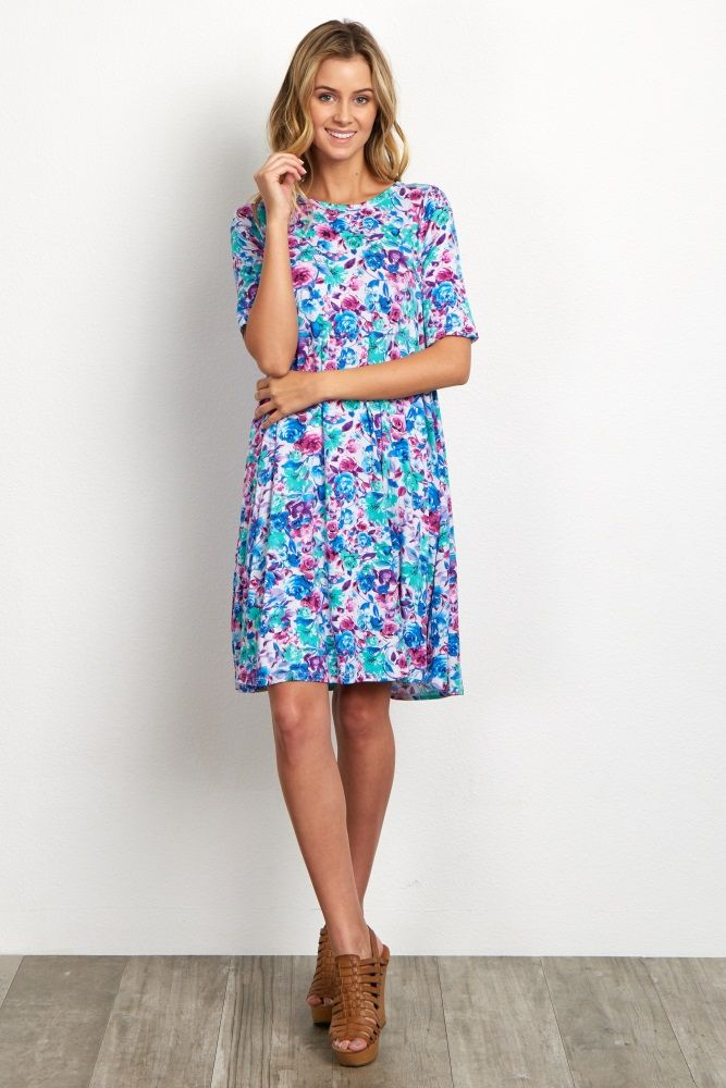 Blue Multi-Color Floral Short Sleeve Dress