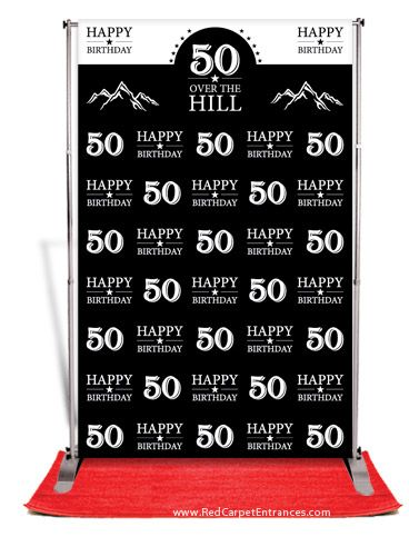 Over The Hill 50th Birthday Backdrop Black 5x8 Banner stands