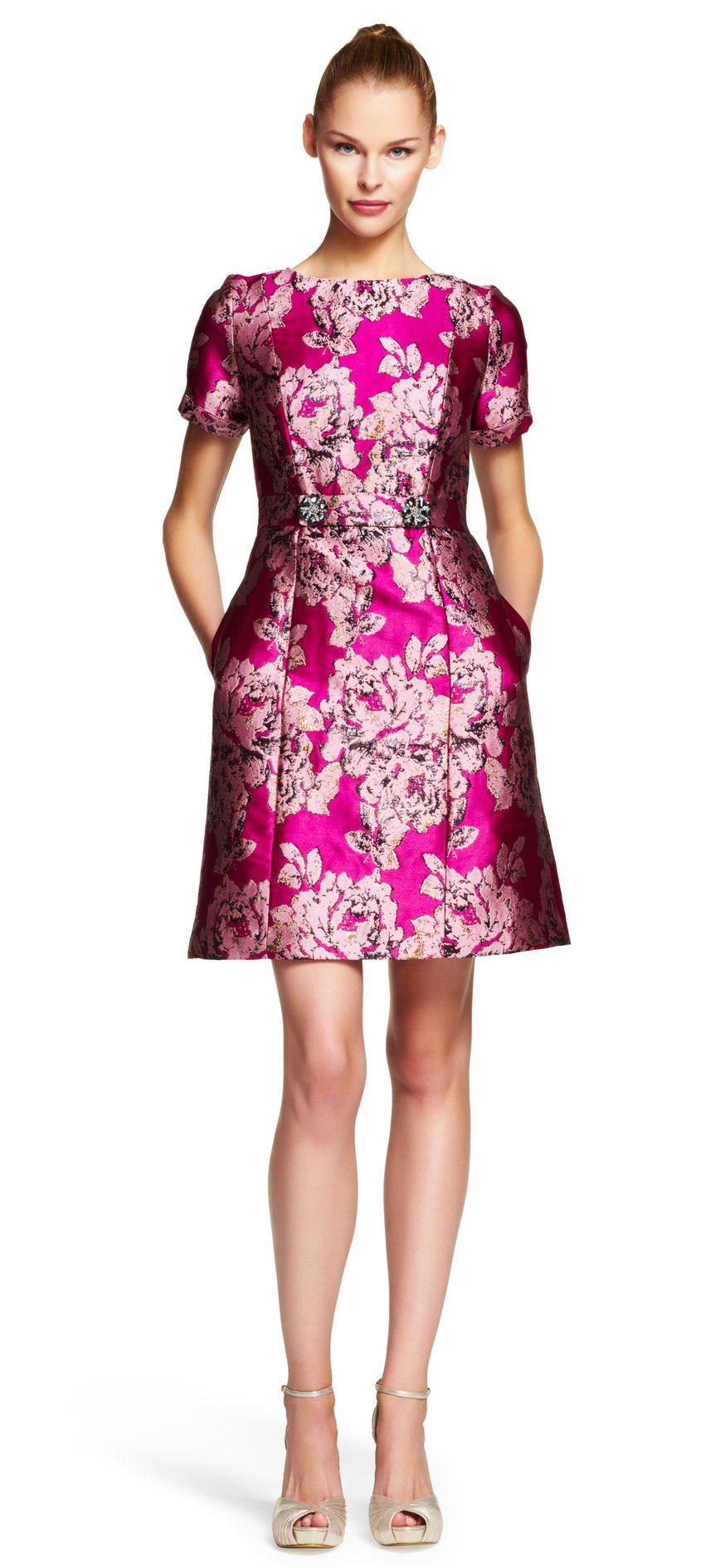Embellished Waist Tab Metallic Jacquard Dress - Adrianna Papell ...