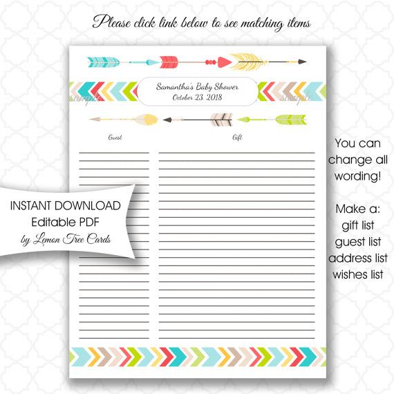 Editable Tribal Baby Shower Gift List U EDIT pdf by lemontreecards - birthday party guest list