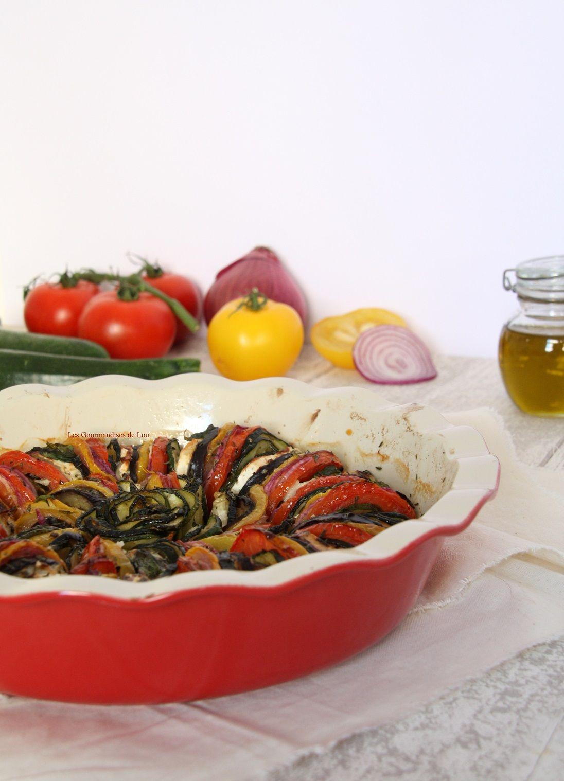 Tian de légumes, chèvre et basilic
