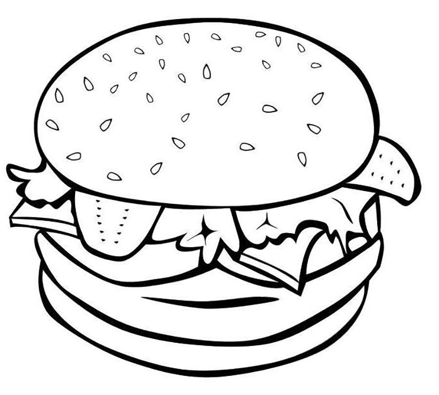 Food Hamburger Kleurrijk voedsel, Kleurplaten, Eten teken