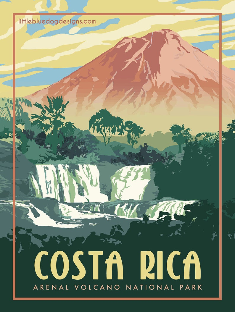 Costa Rica Arenal Volcano – Vintage Travel Poster