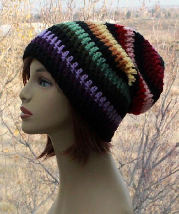 96434f3be49 Unisex Slouchy Hat Rainbow Hat Slouch Beanie Adult Tam Crochet ...